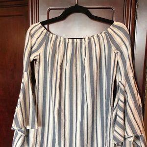 Dresses & Skirts - Blue/White strip summer dress w/ Bell Sleeves Sz S